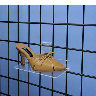 Gridwall Grid Panel 4x10 Flat Acrylic Shoe Shelf - 10 Pieces