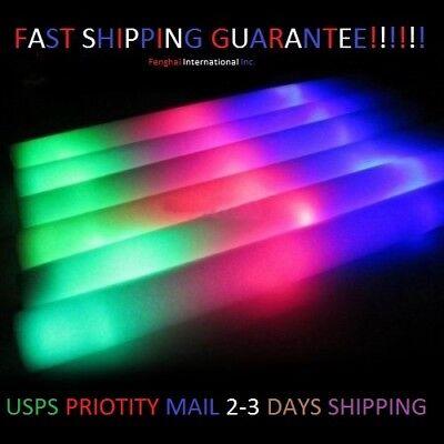 100 PCS, Flashing Glow Foam Sticks, Light Up, LED, Wands, Batons,DJ,Free US Ship