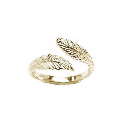10KT Solid Yellow Gold Toe Ring Feather Wrap Wavy Jewelry Adjustable Size