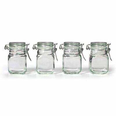 Kamenstein Square Glass Jar with Hinge Glass Lid, 4 Piece Se