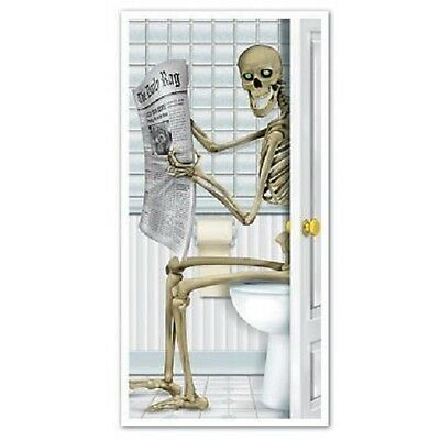 Halloween Cover (HALLOWEEN SPOOKY SKELETON  DOOR COVER ON TOILET BATHROOM   PROP DECORATION )