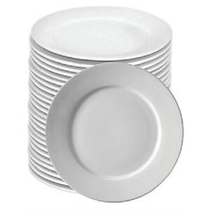 BULK BUY DEAL - BOX 72 WIDE RIM 26cm WHITE CATERING PLATES