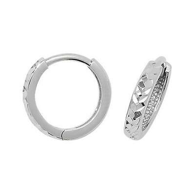 9ct White Gold Diamond-cut Design Small Hinged Huggie/Hoops Womens Earrings Box 9 Cut Design Earrings