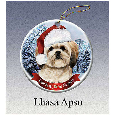 Lhasa Apso Howliday Porcelain China Dog Christmas Ornament