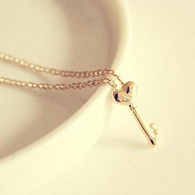 Make A Wish Necklace - Fashion Women Make a Wish Gold Key Heart Shape Short Pendant Chain Necklace