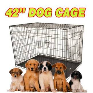 "Brand New 42"" XLarge Collapsible Metal Pet Dog Puppy Cage Crate"