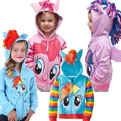 Rainbow Dash Jacket (New Girls My Little Pony Hoodie Wings Kids Jacket Sweater Twilight Rainbow)