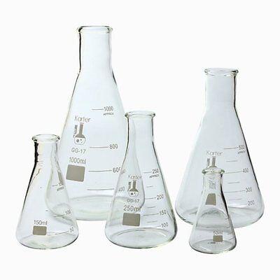 Karter Scientific Glass Erlenmeyer Flask 5 Piece Set Lab Chemistry Glassware