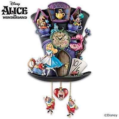 "Disney ALICE IN WONDERLAND ""Mad Hatter"" Cuckoo Clock NEW"