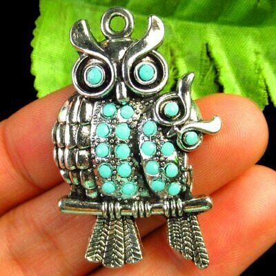 Carved Tibetan Silver Owl Inlay Blue Turquoise Pendant Bead 42x28x4mm B53738