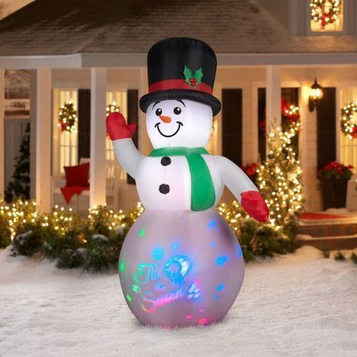 8' Airblown Inflatable Snowman Panoramic Projection Christmas Winter Light Lawn