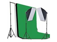 Photography Studio Softbox Continuous Lighting Equipment Kit with Black Green White three Backdrops