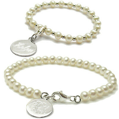 Sterling Silver Baby or Child Engraved Pearl Bracelet
