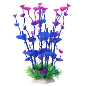 Artificial Plastic Water Plants Grass Fish Tank Aquarium Ornament Decor Purple