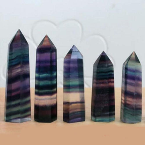 100% Natural Fluorite Quartz Crystal Stone Point Healing Hexagonal Wand