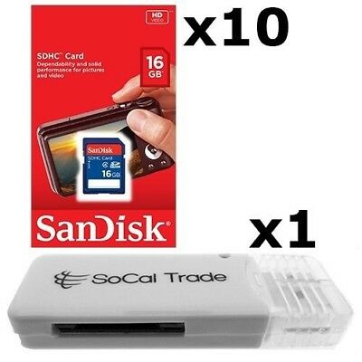 10 PACK - Lot of 10 SanDisk 16GB SD HC Class 4 SDHC Flash Me