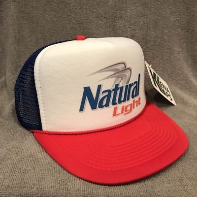 Natural Light Beer Trucker Hat Vintage Snapback Party Cap Red White Blue 2251 - Red Party Hat