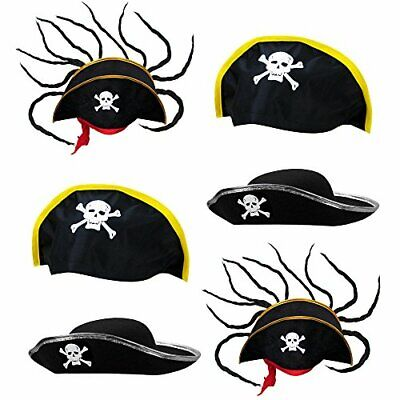 6 Pack Halloween Costume (Pirate Hat Pack, 6 Halloween Costume Accessories Dress Up)