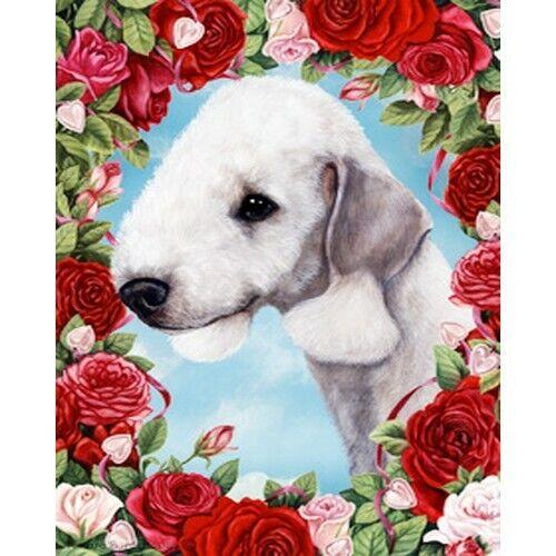 Roses Garden Flag - Bedlington Terrier 191321