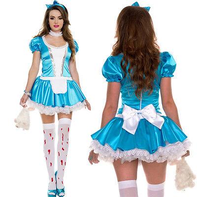 Halloween Costumes Wonderland (Alice Wonderland Halloween Costume Shiny Apron Mini Dress Choker Headband)