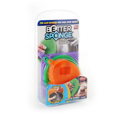 3 Pc Cleaner Sponges Anti-Bacterial Kitchen Better High-grade Silicone