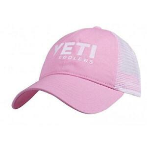 f4a125cbccc Yeti Coolers Logo Ladies Low Profile Trucker Hat Cap Pink White Mesh ...