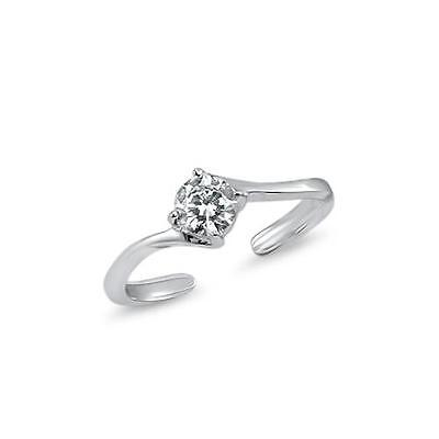 925 Sterling Silver Solitaire CZ Adjustable Toe Ring