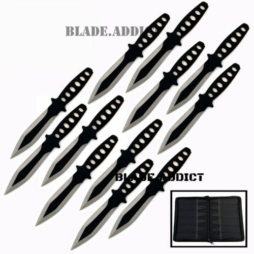 "12 Pc 6"" Ninja Hunting Tactical Combat Naruto Kunai Throwing Knife Set + Case"