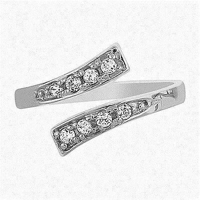 10K White Gold Crossover Shiny CZ Cubic Zirconia Toe Ring Body Art Adjustable Cubic Zirconia White Gold Toe Ring