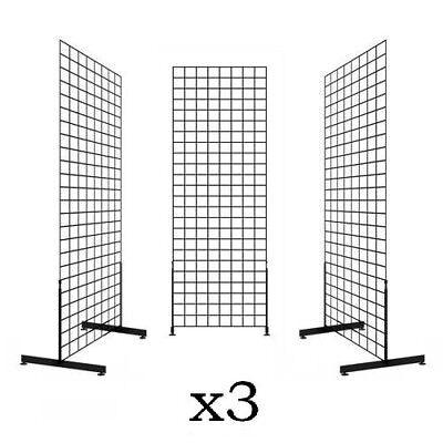 Art Craft Store (Display Grid Rack 3 Pack 6 ft Panel Retail Metal Stand Store Art Craft)