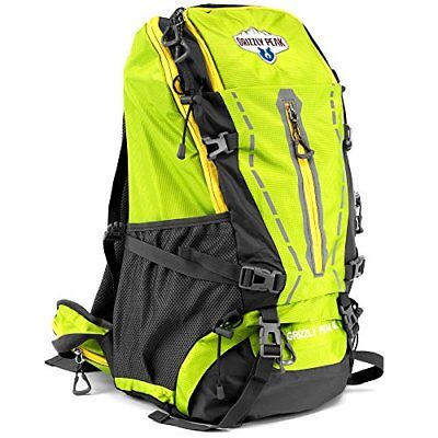 45L Internal Frame Hiking Camping Daypack Backpack, Water Resistant, Lime Green