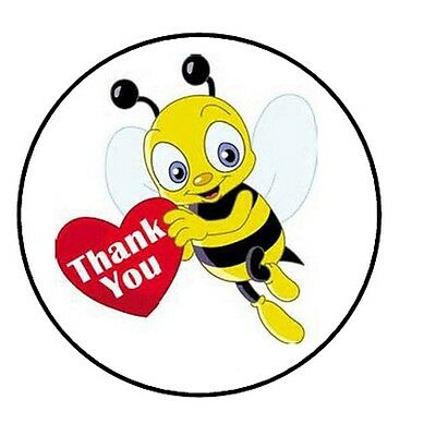 48 Thank You Bee     Envelope Seals Labels Stickers 1 2  Round