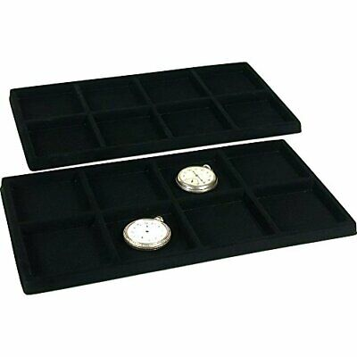 Findingking 2 Black 8 Slot Pocket Watch Jewelry Display Case Tray Inserts