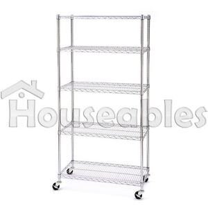 5 Tiers Metal Wire Stand Rolling Shelf Shelving Organizer Storage Rack Holder