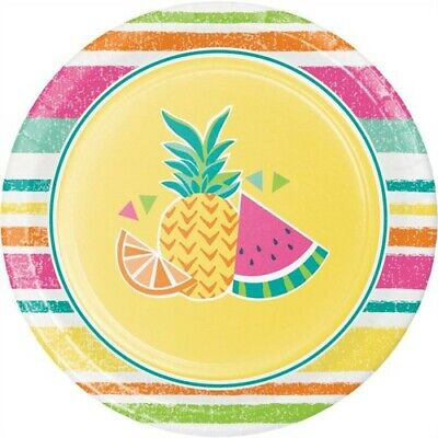 Summer Fruit 7 Inch Paper Plates Pineapple Watermelon Orange Party Decorations - 7 Inch Paper Plates