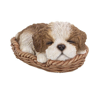 New WICKER BASKET PUPS Figurine Statue SHIH TZU DOG PUPPY in Bed Sleeping