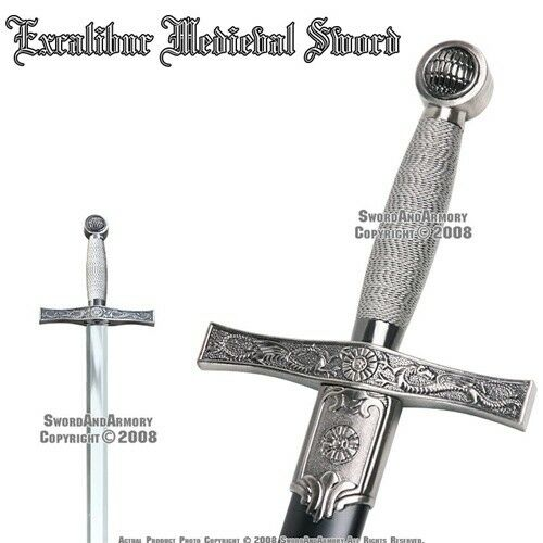 """35"""" Excalibur Medieval Style Crusader Arming Sword With Sheath"""
