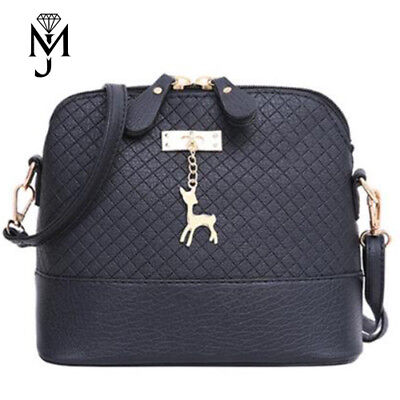 Schwarz Abend-handtasche (Handtasche mit Reh Anhänger Abendtasche Schultertasche Clutch Schwarz Kunstleder)