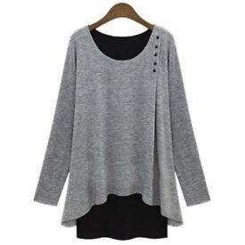 NEW - Stylish Faux Twinset Design Scoop Neck Long Sleeve T-Shirt SIZE LARGE