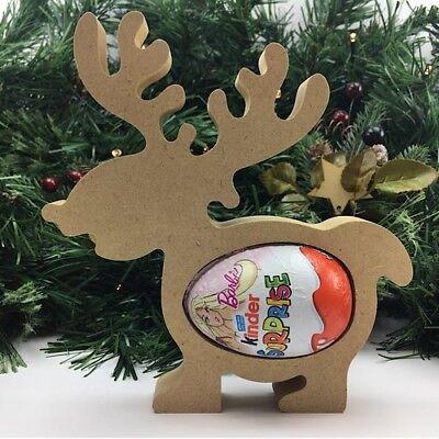 Cute Reindeer Kinder Egg Holder  Pack of 10 Freestanding Christmas Xmas MDF