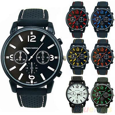 Mens Fashion Analog Silicone Stainless Steel Quartz Hours Sports Wrist Watch