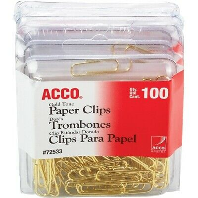 Acco Gold Tone Paper Clips - Regular - No. 2 - 10 Sheet Capacity - 400 / Pack - Acco Gold Paper