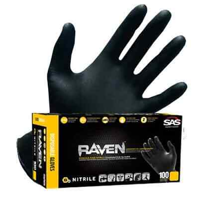 Sas Raven Black Nitrile Gloves Powder Free Large Medium Xl