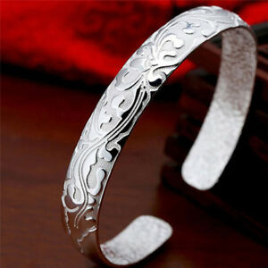 Fashion Female Jewelry 999 Sterling Silver Bangles Cuff Bracelet High Quality DQ