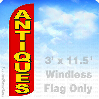 Antiques - Windless Swooper Flag Feather Banner Sign 3x11.5 - Rq