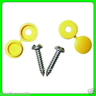 A Pair of Number Plate Screws With Yellow Caps [PWN099] For Rear Plate