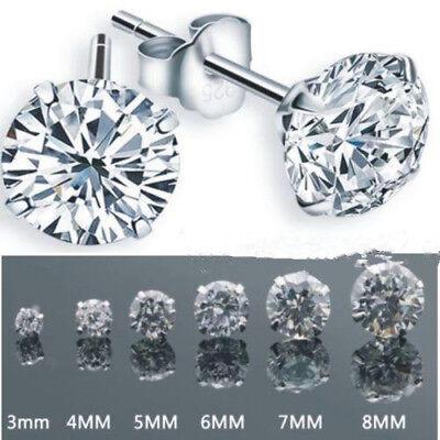 Women Men Fashion 925 Silver Plated Cubic Zirconia Round Stud Earrings 3-8 mm