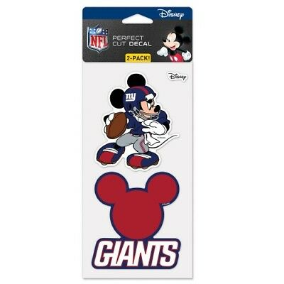NEW YORK GIANTS MICKEY MOUSE DISNEY 2 PIECE PERFECT CUT DECAL SHEET 4