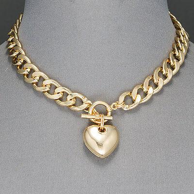 Gold Cuban Link Chain Choker Style Heart Shape Pendant Necklace ()