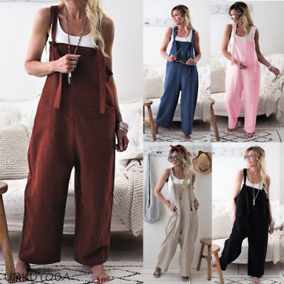 Women Trousers - Dungarees Strap Overalls Harem Trousers Women Baggy Casual Cotton Linen Jumpsuit